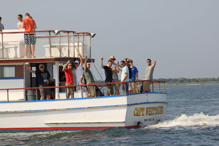 Happy Passengers abourd the Captain Whittaker cruising to a fishing adventure in the Captree Inlet and great south bay